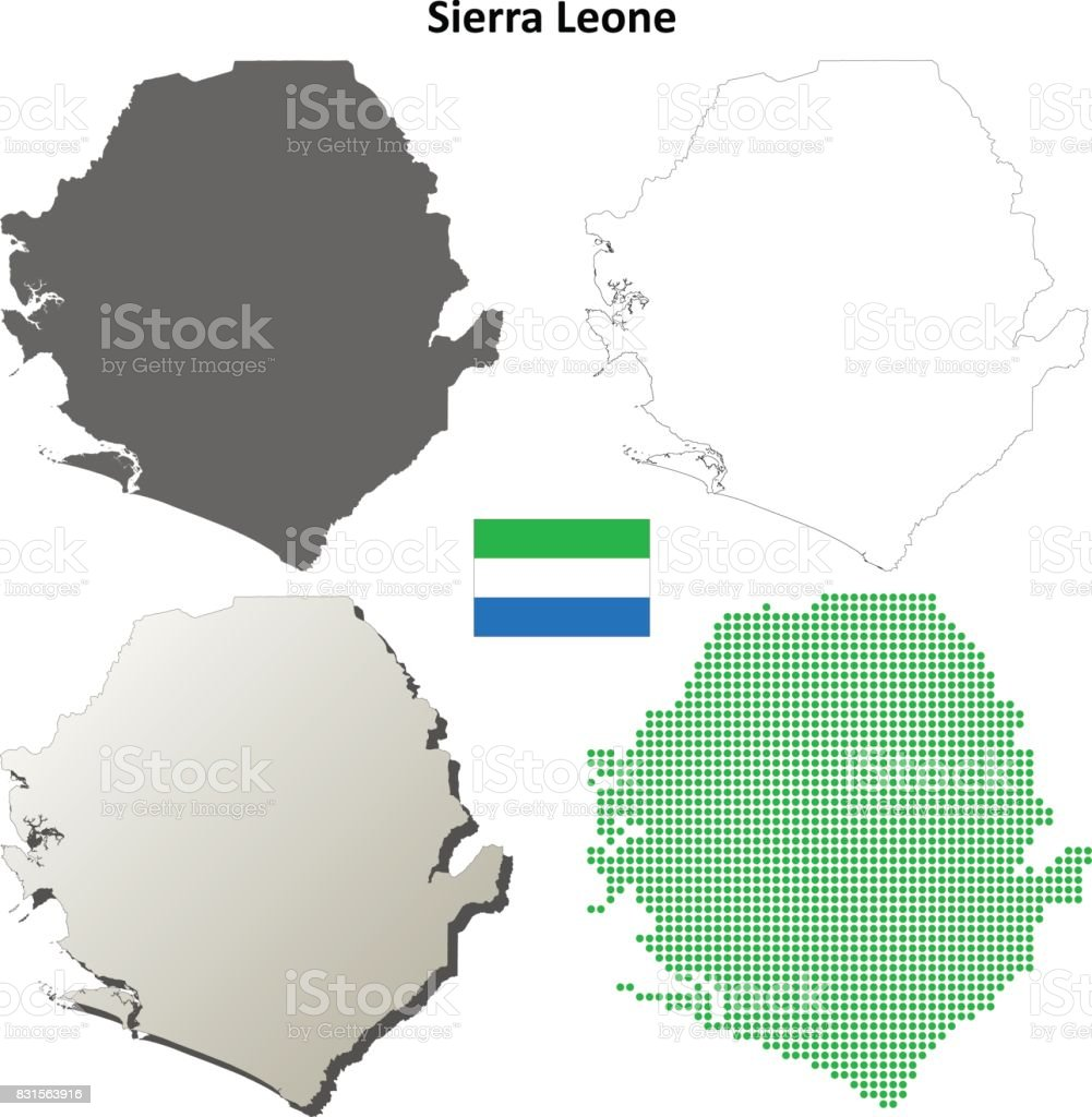 Sierra Leone Outline Map Set stock vector art 831563916 | iStock