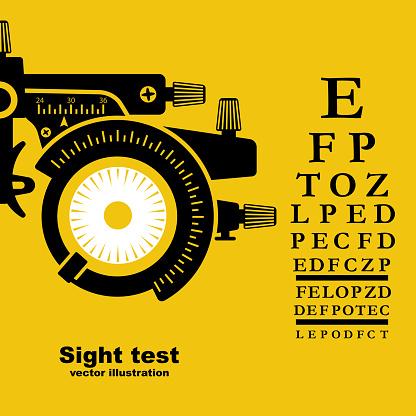 Sight test. Diagnosis of vision. Eye test frame. Vision test. Check Eyesight.