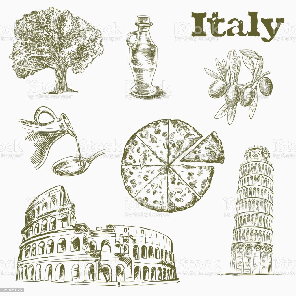 Sights and culture in Italy vector art illustration