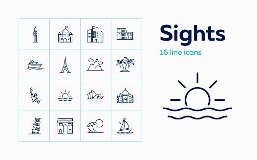 Sights line icon set