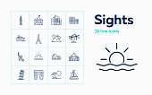 Sights line icon set. Paris, London, New York. Tourism concept. Can be used for topics like vacation, travel, sightseeing