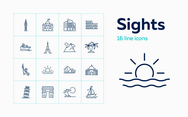 Sights line icon set Sights line icon set. Paris, London, New York. Tourism concept. Can be used for topics like vacation, travel, sightseeing beach icons stock illustrations