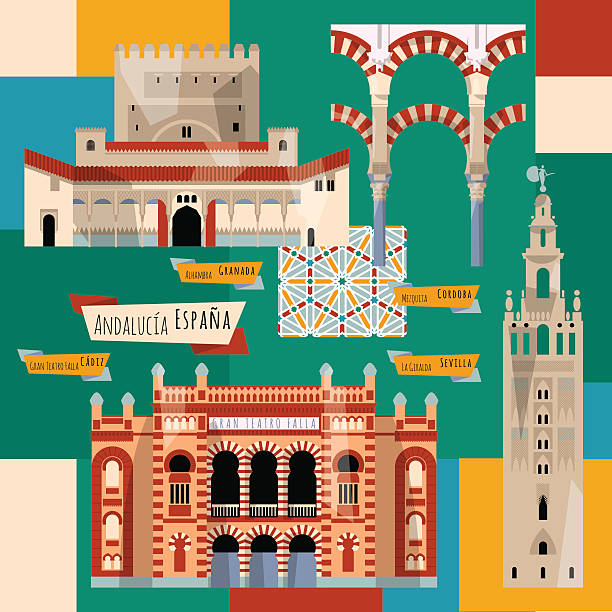 Sights of Andalusia. Seville, Granada, Cordoba, Cadiz, Spain, Europe. Sights of Andalusia. Seville, Granada, Cordoba, Cadiz, Spain, Europe. Vector illustration cordoba mosque stock illustrations