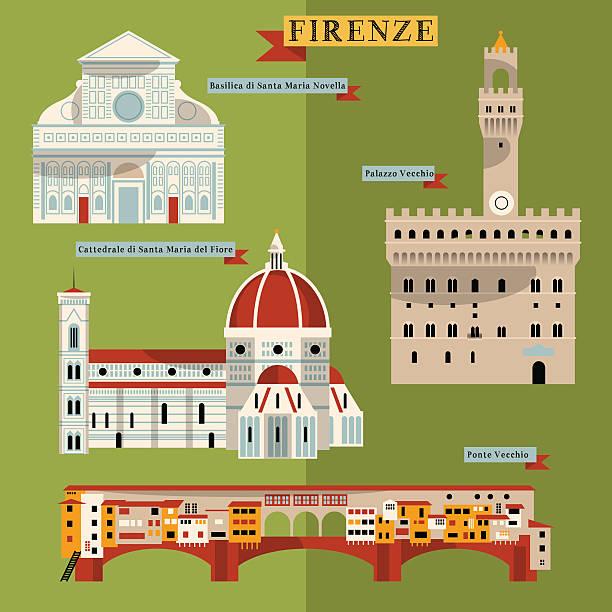 illustrazioni stock, clip art, cartoni animati e icone di tendenza di attrazioni di firenze. italia, europa. - firenze