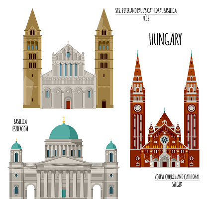 Sights of Hungary. Esztergom Basilica, Sts. Peter and Paul's Cathedral Basilica in Pecs, Votive Church and Cathedral in Szeged.