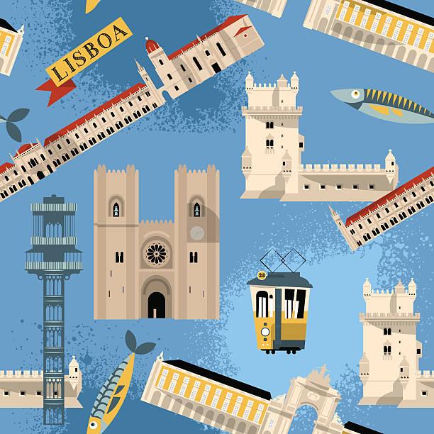 ilustrações de stock, clip art, desenhos animados e ícones de miras de lisboa. portugal europa. sem costura padrão de fundo. - eletrico lisboa