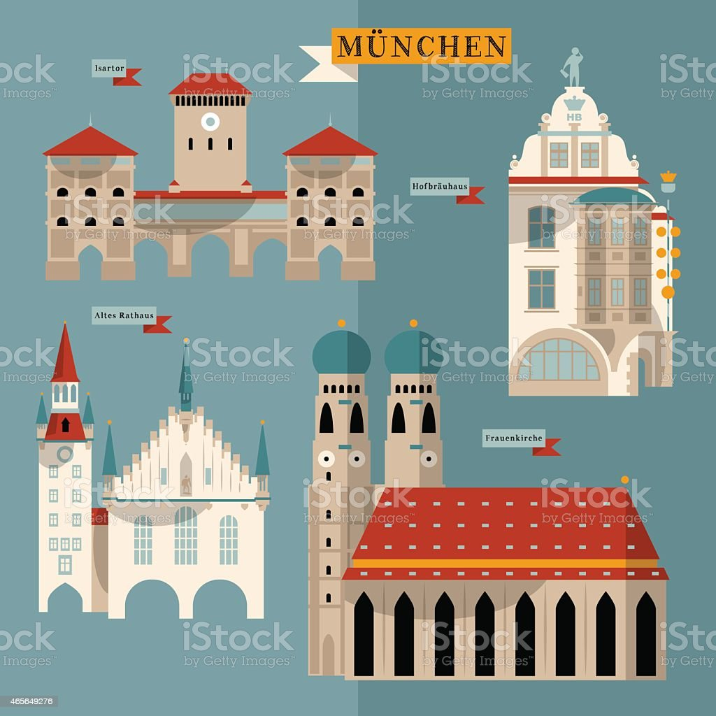 sehensw rdigkeiten von m nchen bayern deutschland europa vektor illustration 465649276 istock. Black Bedroom Furniture Sets. Home Design Ideas
