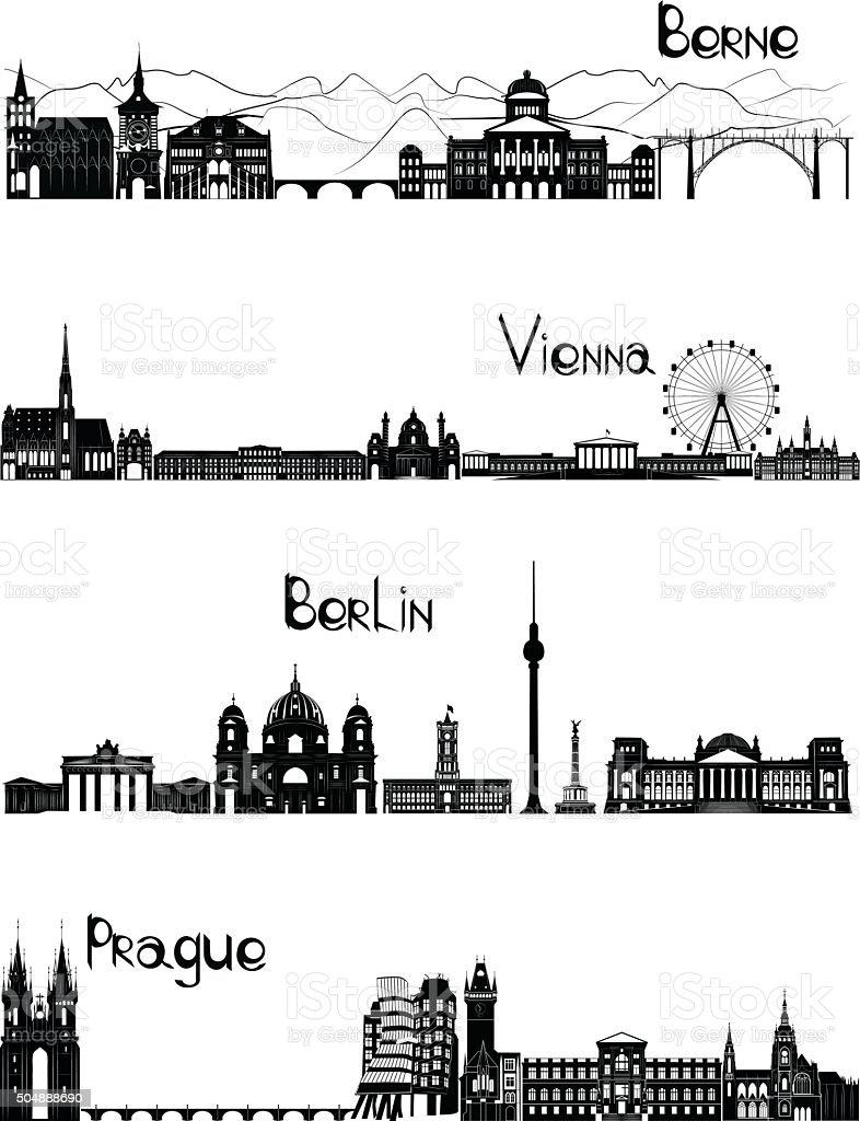 Atrações de Roma, Paris, Madri e Lisboa, b-w vetor - ilustração de arte em vetor