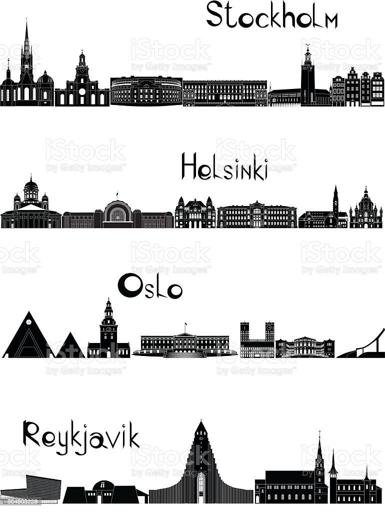 Sights of Stockholm, Oslo, Reykjavik and Helsinki, b-w vector vector art illustration