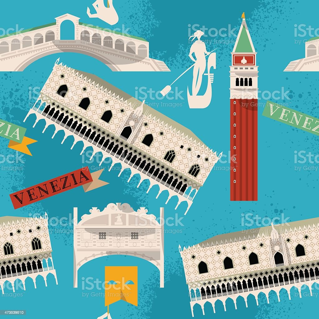 Sights of Venice. Italy, Europe. Seamless background pattern. vector art illustration
