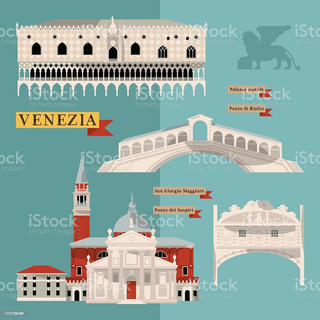 Sights of Venice. Italy, Europe. vector art illustration