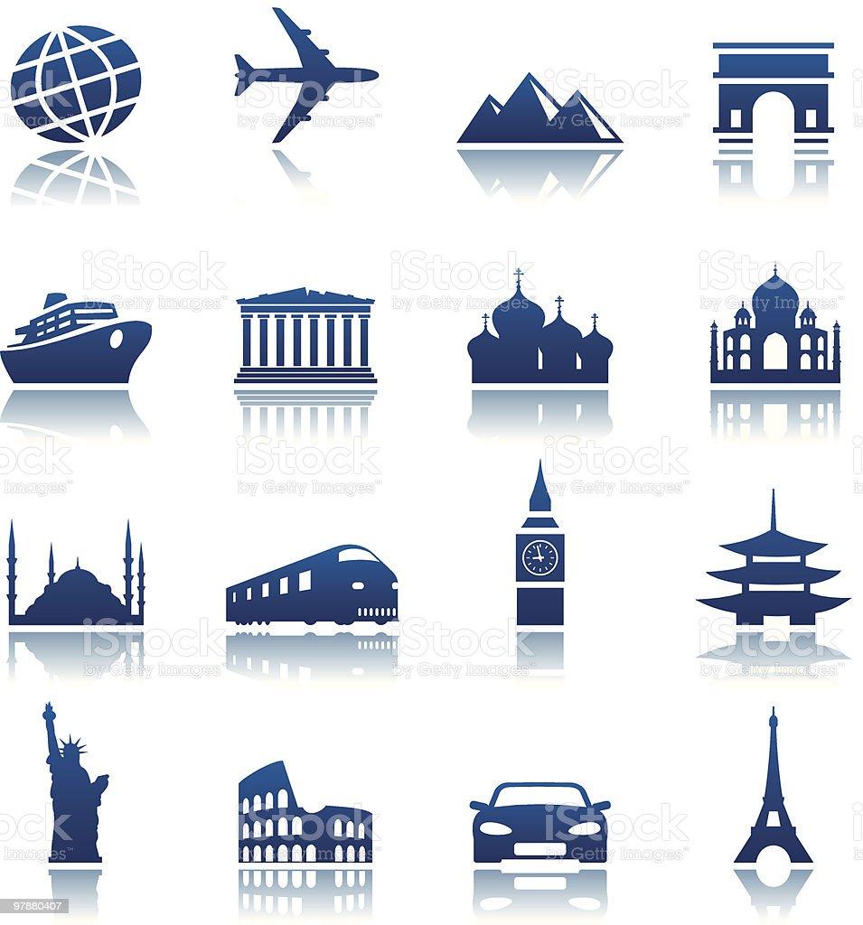 Sights & transportation icons royalty-free stock vector art