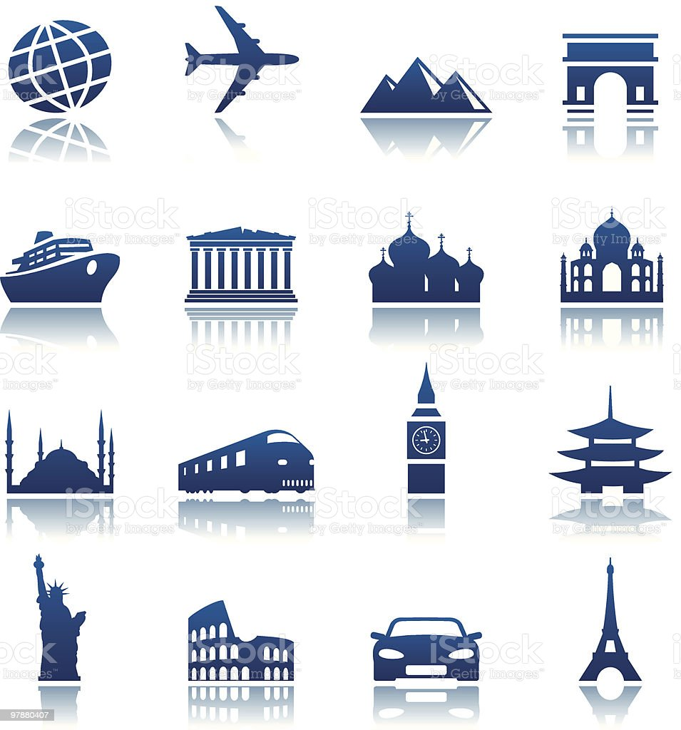 Sights & transportation icons vector art illustration