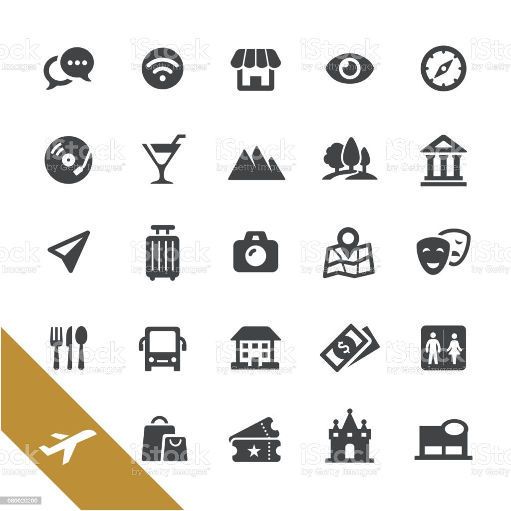 Sightseeing Icons - Select Series royalty-free sightseeing icons select series stock vector art & more images of airplane ticket