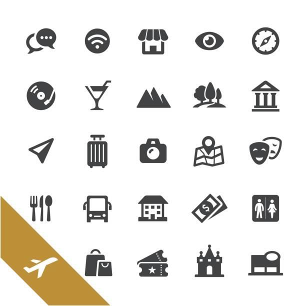 sightseeing-icons - select serie - tour bus stock-grafiken, -clipart, -cartoons und -symbole