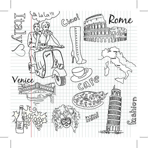 Sightseeing in Italy doodles.. vector art illustration