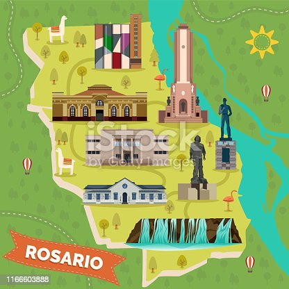 Rosario city or town map with landmarks. Argentina sightseeing places. Cascadas del Saladillo waterfall, Juan B. Castagnino Fine Arts Museum, Bandera or flag, immigrant monument. Travel and tourism