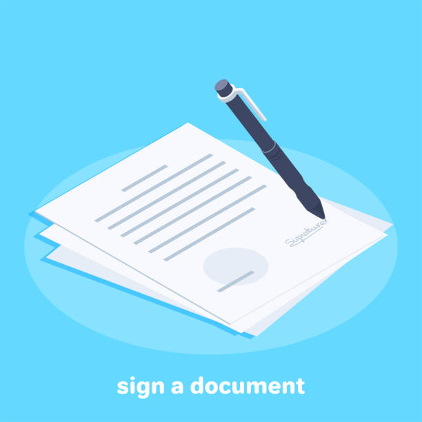 sign a document Isometric vector image on a blue background, a white sheet with the contract or business document and a pen for signing, the conclusion of contracts biological process stock illustrations