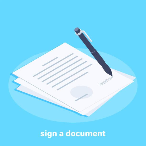 sign a document - kontrakt stock illustrations