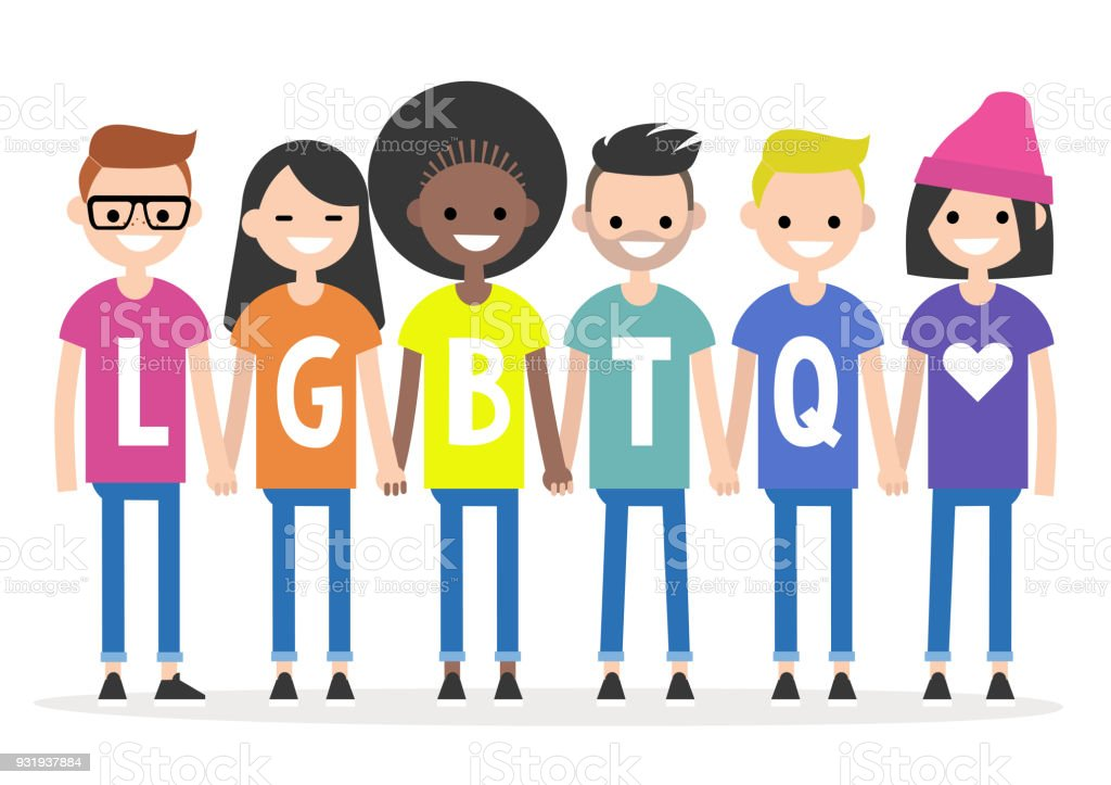 LGBTQ sign. A group of people wearing colourful t-shirts and holding each other's hands. Rainbow. Homosexual community. Flat editable vector illustration, clip art vector art illustration