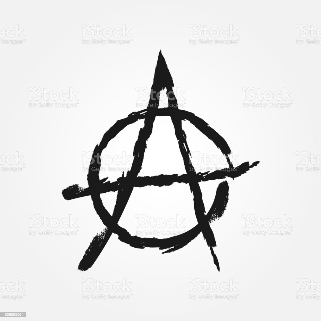 Sign Anarchy The Symbol Of Anarchism Isolated Grunge Stock Vector