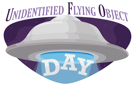 Sign and Flying Saucer Abducting Sign in UFO Day