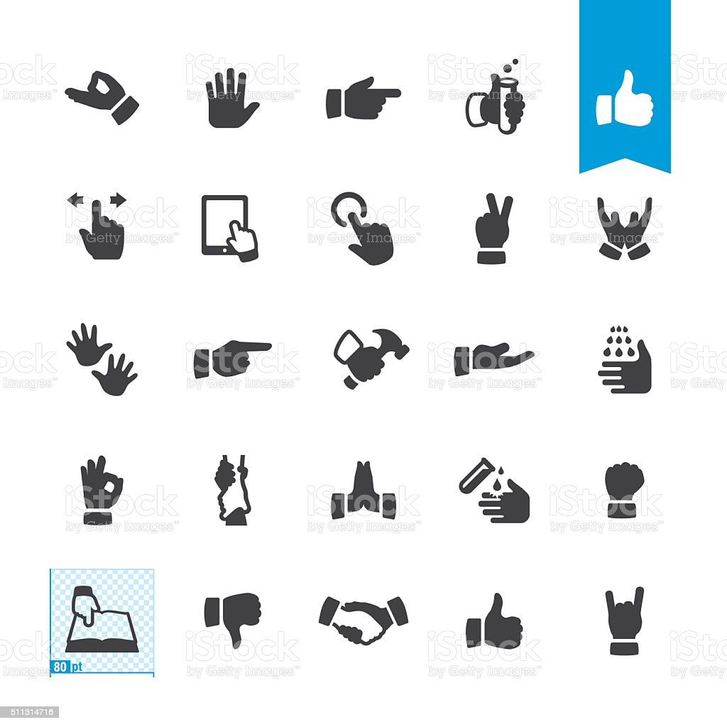 Sign and Gesturing vector icons vector art illustration