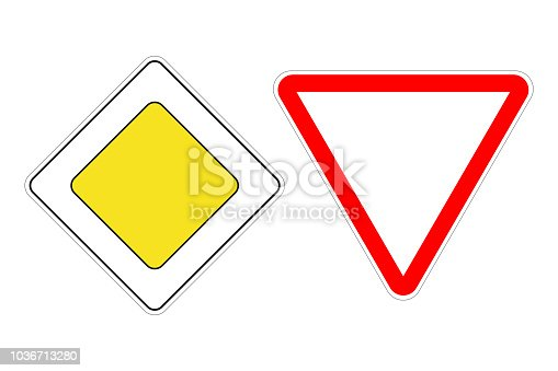 PRIORITY ROAD sign and GIVE WAY sign. Vector.