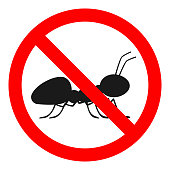 NO ANTS sign. ANT FREE symbol. Vector icon.