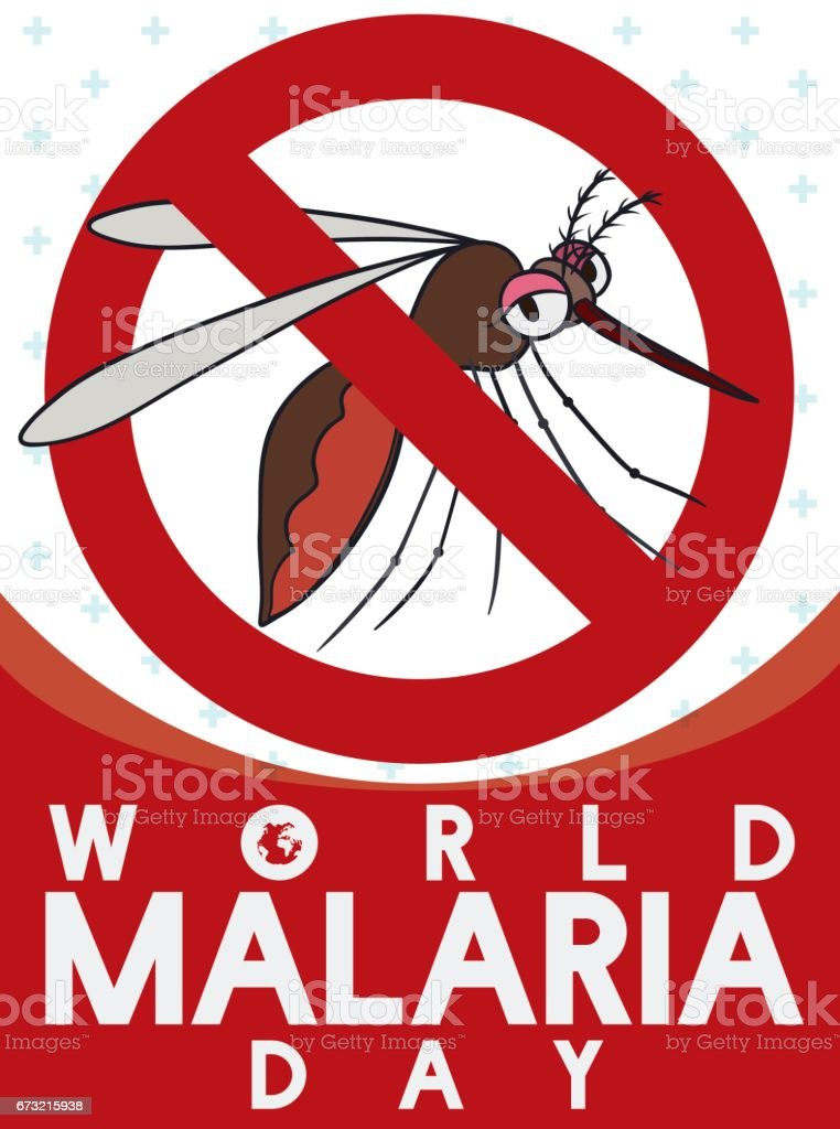 Sign Banning Female Mosquito in World Malaria Day векторная иллюстрация