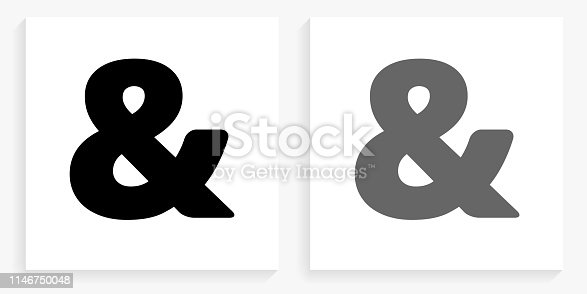& Sign Black and White Square Icon. This 100% royalty free vector illustration is featuring the square button with a drop shadow and the main icon is depicted in black and in grey for a roll-over effect.