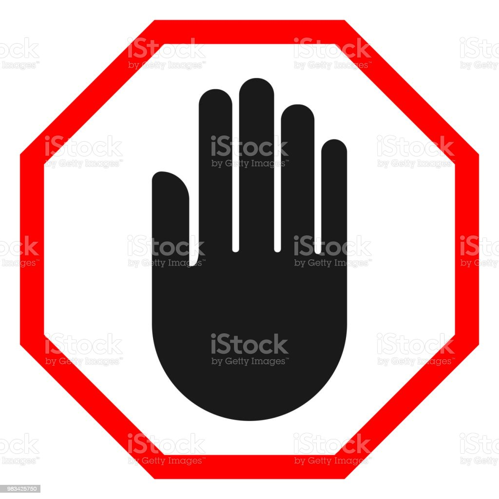 stop hand sign black hand silhouette on octagon vector stock vector