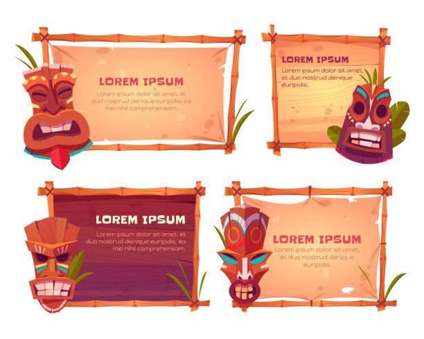illustrazioni stock, clip art, cartoni animati e icone di tendenza di cartelloni con cornici in bambù e maschere tiki - totem fair