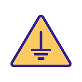 Sign carefully icon vector. A thin line sign. Isolated contour symbol illustration