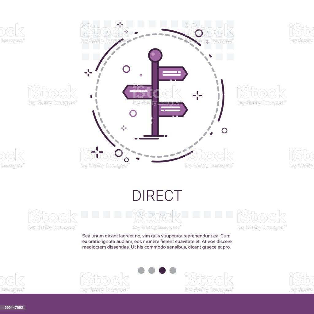 Sign Choose Direction Way Signboard Arrow Web Banner With Copy Space vector art illustration