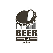 Sign curved cap from a beer with the inscription Beerfest. Illustration.