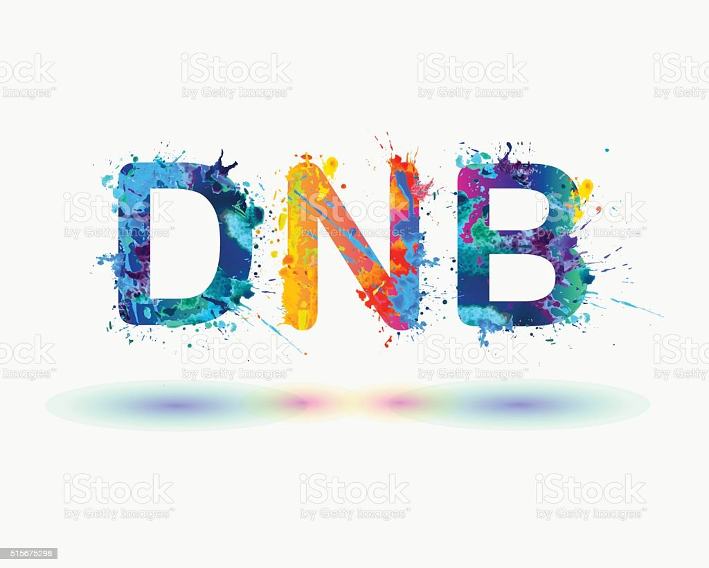 sign DNB. Splash paint vector art illustration