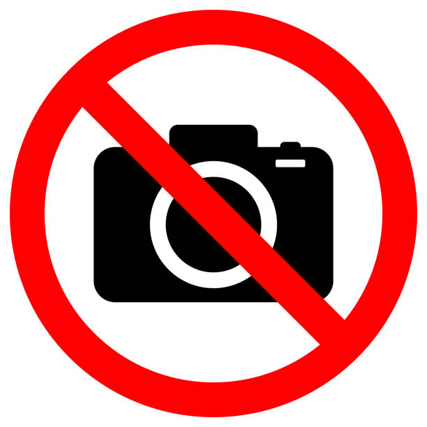 NO CAMERAS ALLOWED sign. Flat icon in red crossed out circle. Vector - illustrazione arte vettoriale