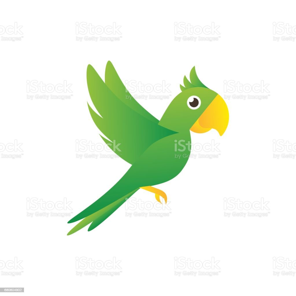 Sign flying green parrot royalty-free sign flying green parrot stock illustration - download image now