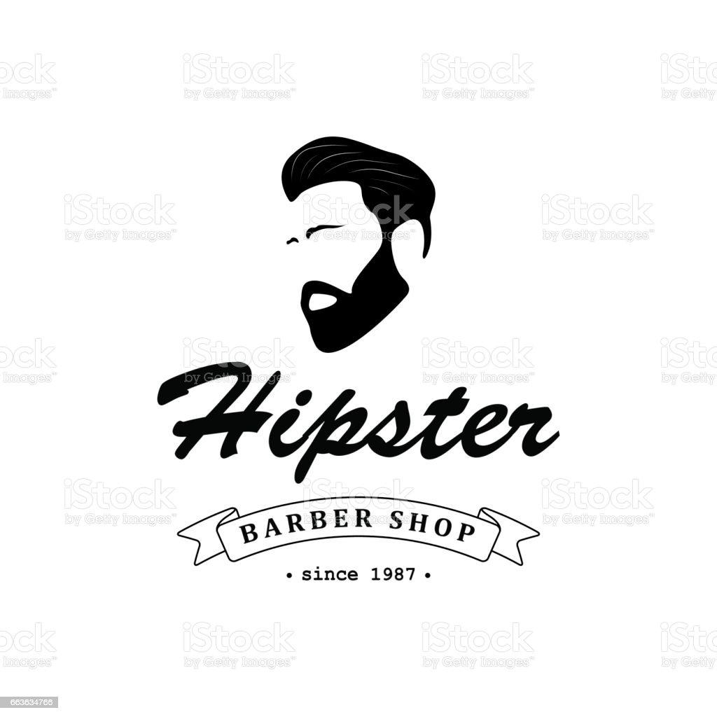 Sign for barber shop, hair salon with hipster head and barber scissors. Vector Illustration. vector art illustration
