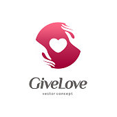Sign for charity and care. Template for the orphanage, baby care. Give love
