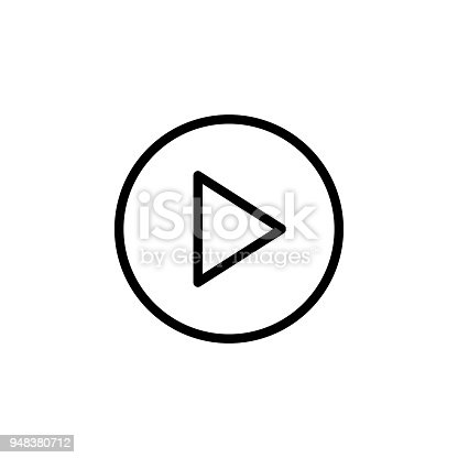 istock sign for play in a circle icon. Element of minimalistic icons for mobile concept and web apps. Thin line icon for website design and development, app development 948380712