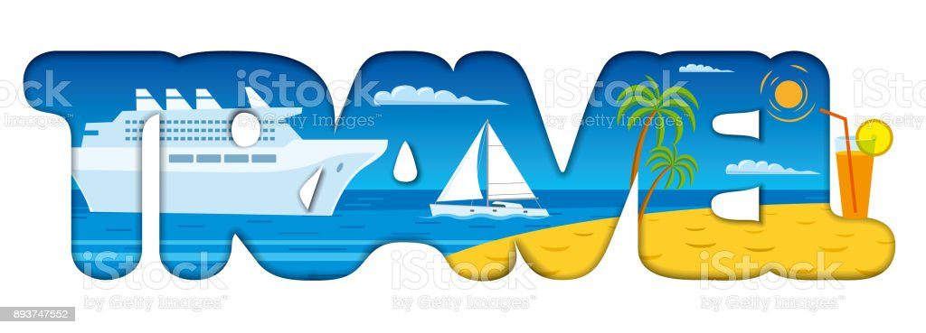 sign for resort and travel vector art illustration