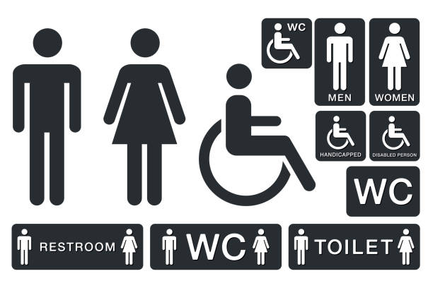 WC Sign for Restroom. Toilet Door Plate icons. Men and Women Vector Symbols WC Sign for Restroom. Toilet Door Plate icons. Men and Women Vector Symbols. Isolated bathroom symbols stock illustrations