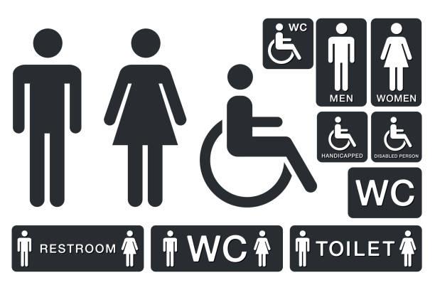 illustrazioni stock, clip art, cartoni animati e icone di tendenza di wc sign for restroom. toilet door plate icons. men and women vector symbols - bagno