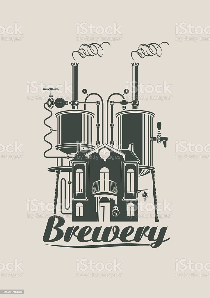 sign for the brewery vector art illustration