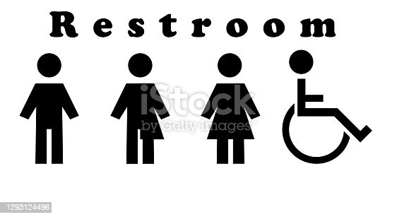 istock A sign for the toilet, both male and female as Gender 1293124496