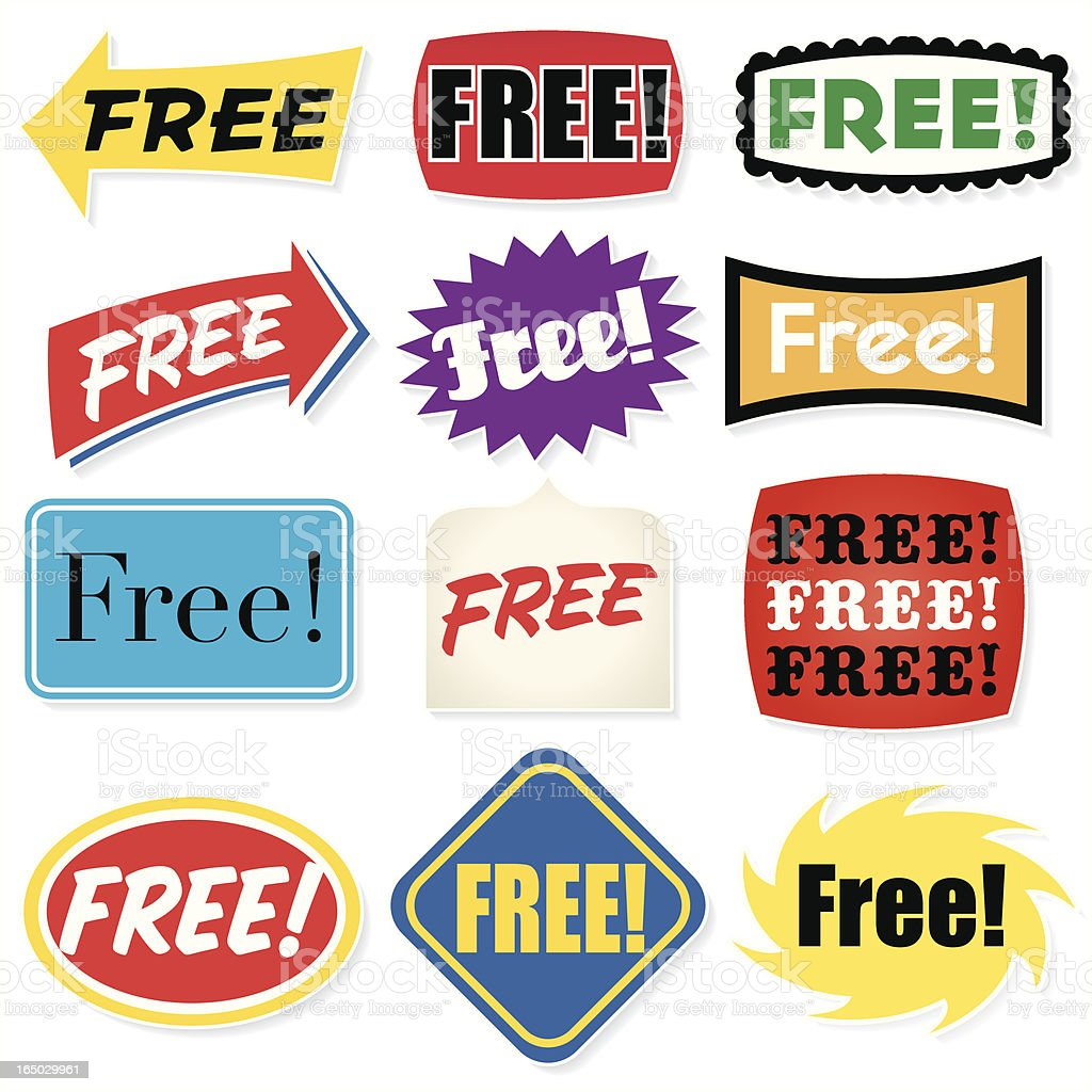 Sign: FREE! (with shadow) royalty-free stock vector art