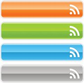 RSS sign glossy icon orange green blue button