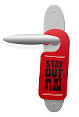 STAY OUT OF MY ROOM sign hanging on door handle. Isolated vector illustration on white background.